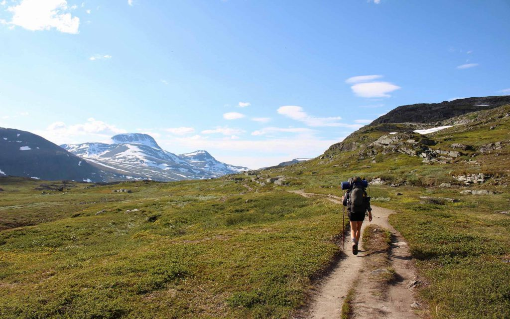 Trek path in mountains of Sweden