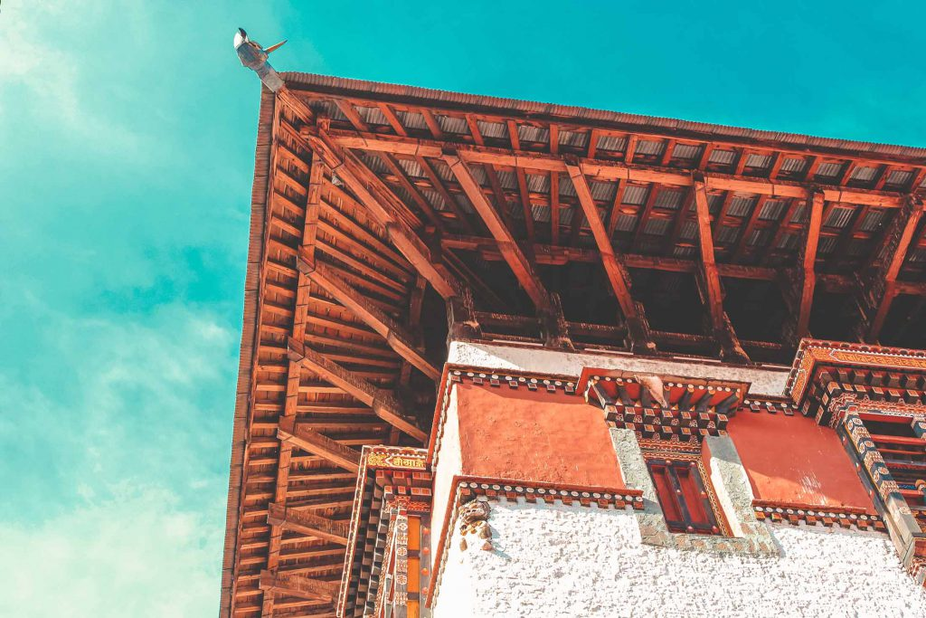 Dzong roof from beneath, Bhutan travel guide