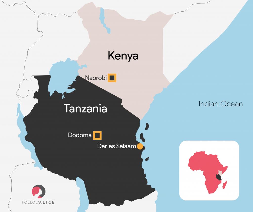 Map of Kenya and Tanzania African safari