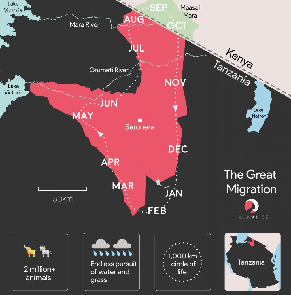 Great Wildlife Migration map