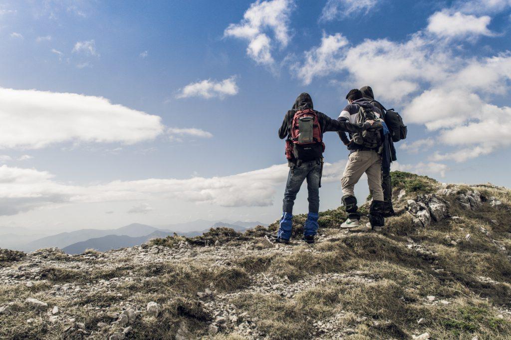 Hiker wearing gaiters in Italy