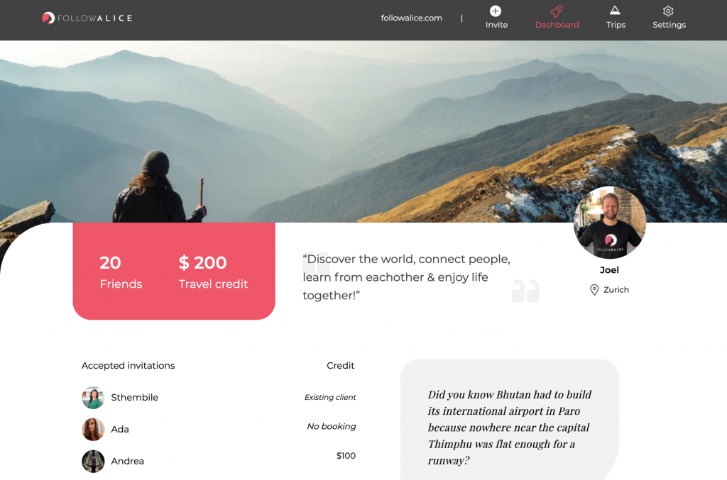 travel ambassador dashboard
