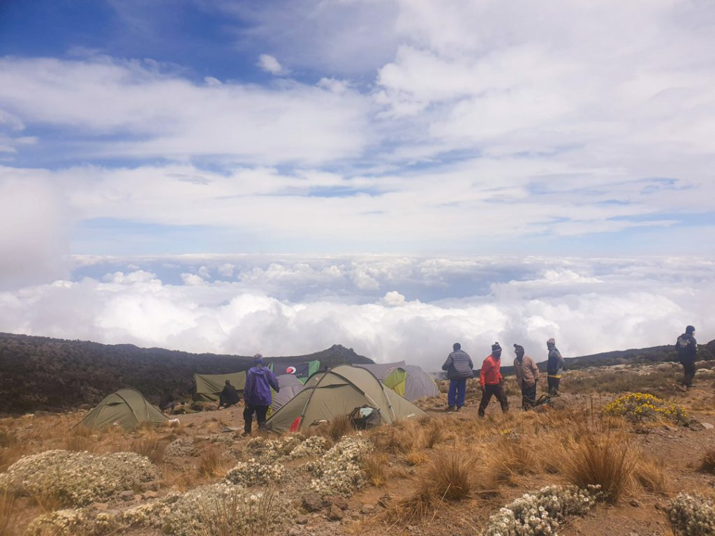 Campsite Kilimanjaro clouds
