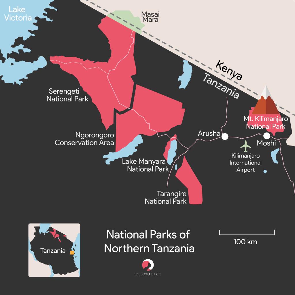Northern circuit Tanzania map