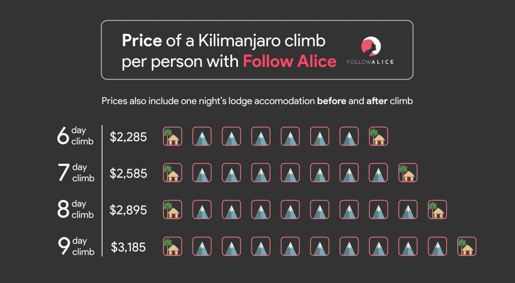 Infographic of price of a Kilimanjaro climb with Follow Alice