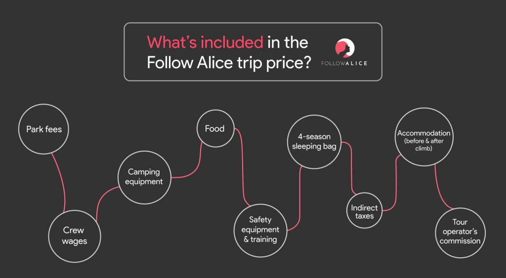 Kilimanjaro cost infographic: breakdown of a Kilimanjaro climb with Follow Alice