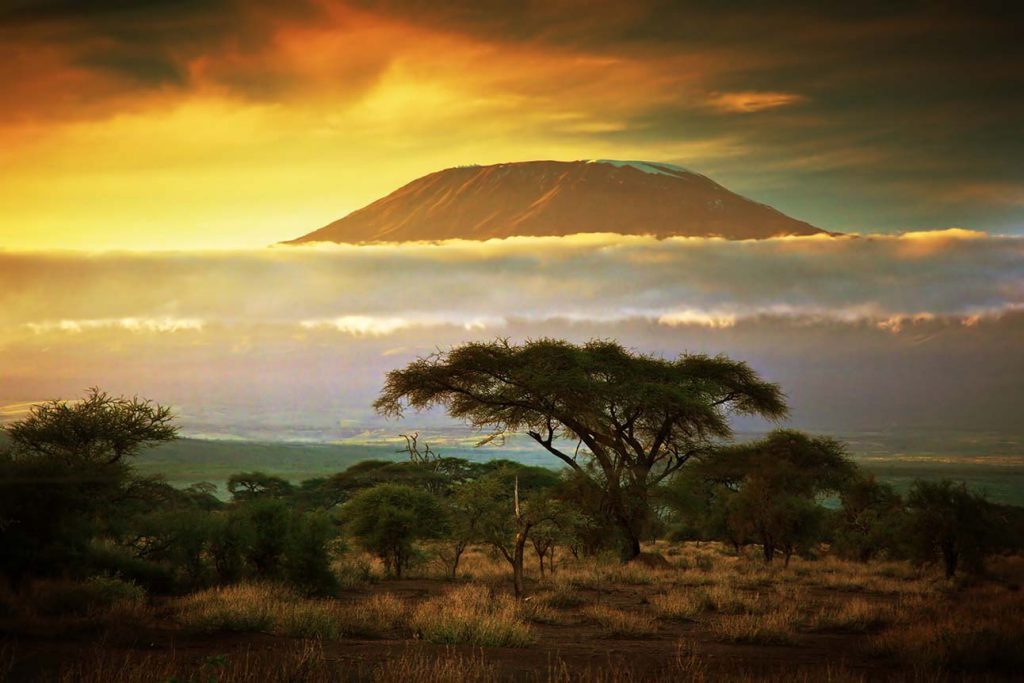 A view of Mount Kilimanjaro's summit at sunset