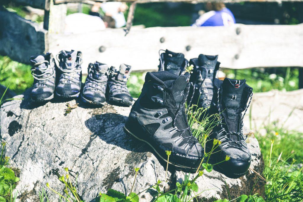 Pairs of trekking boots