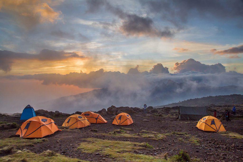 Barufu camp on Kilimanjaro at sunset