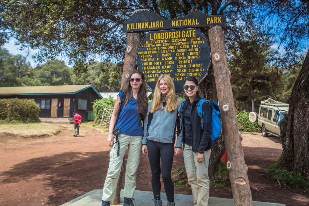 Follow Alice trekkers at Londorossi Gate, one of the entry points to Kilimanjaro National Park