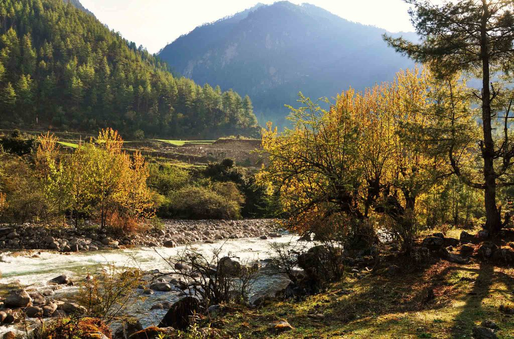 Bhutan autumn scene - how much does it cost to travel to Bhutan?