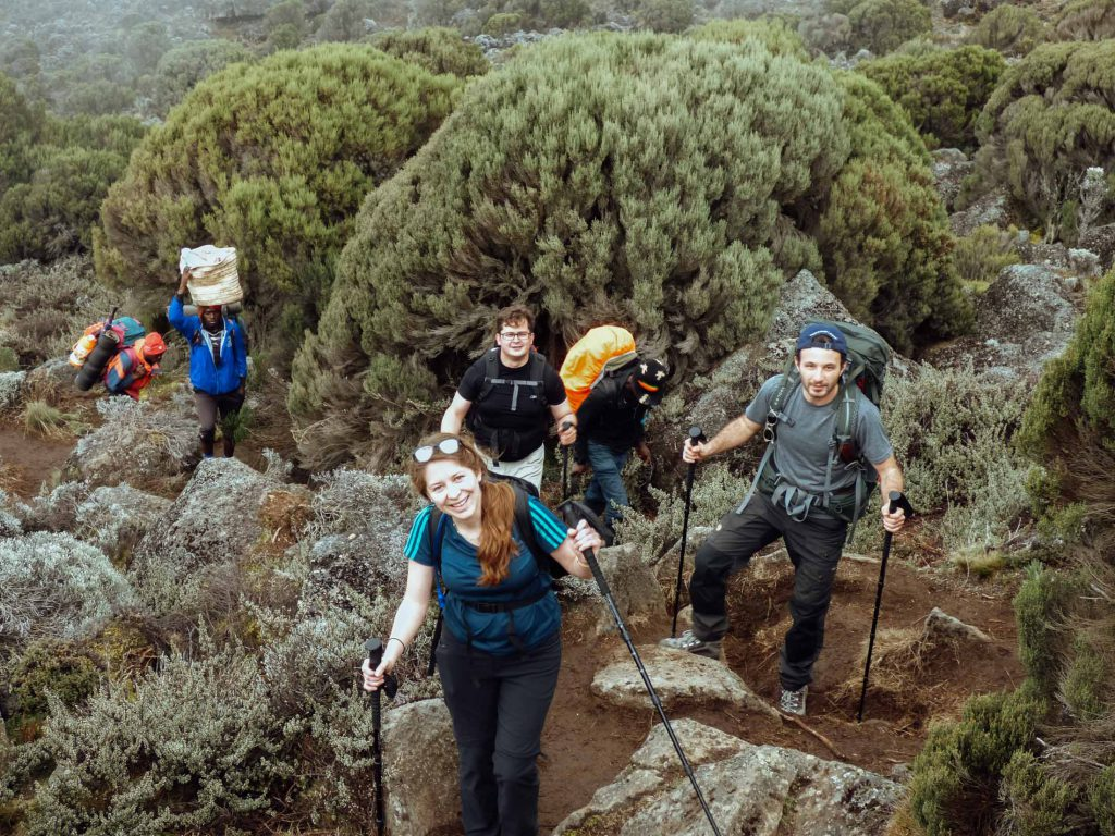 Happy trekkers climbing Kilimanjaro