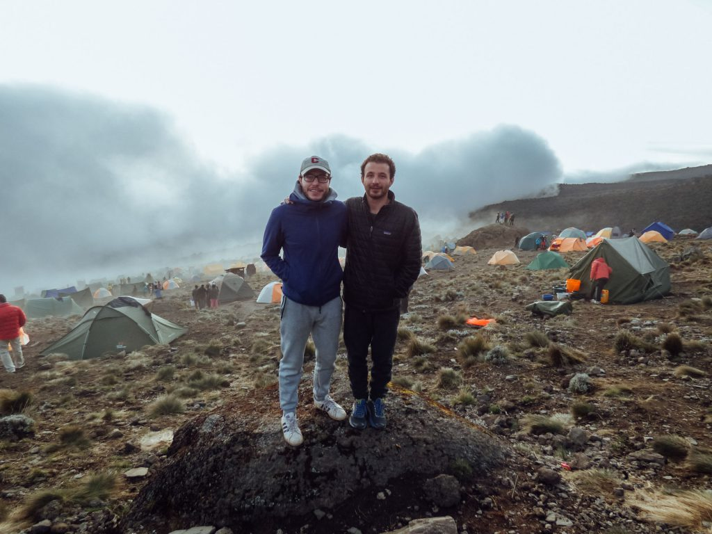 Kilimanjaro couple guys at camp, Tanzania