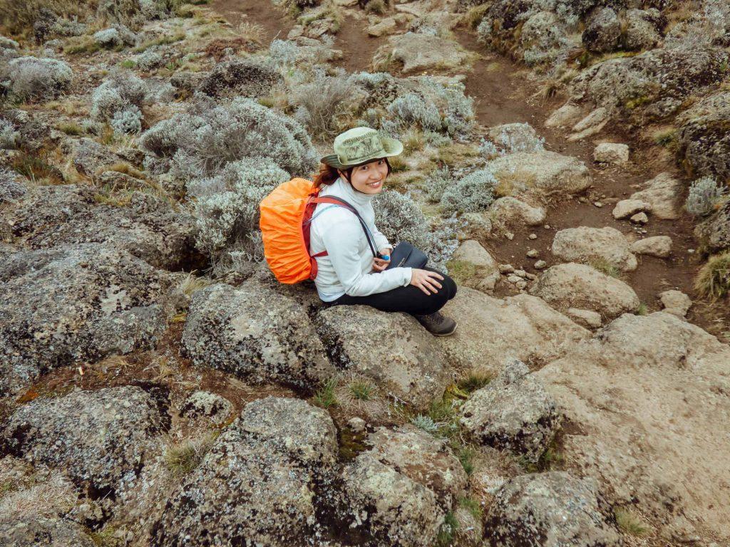 Climber resting on Mount Kilimanjaro