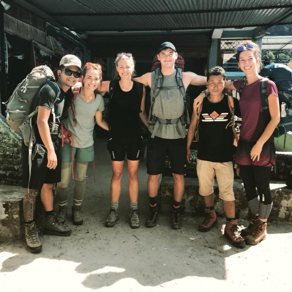 Trekkers and their trek leader on the Everest Base Camp Trek
