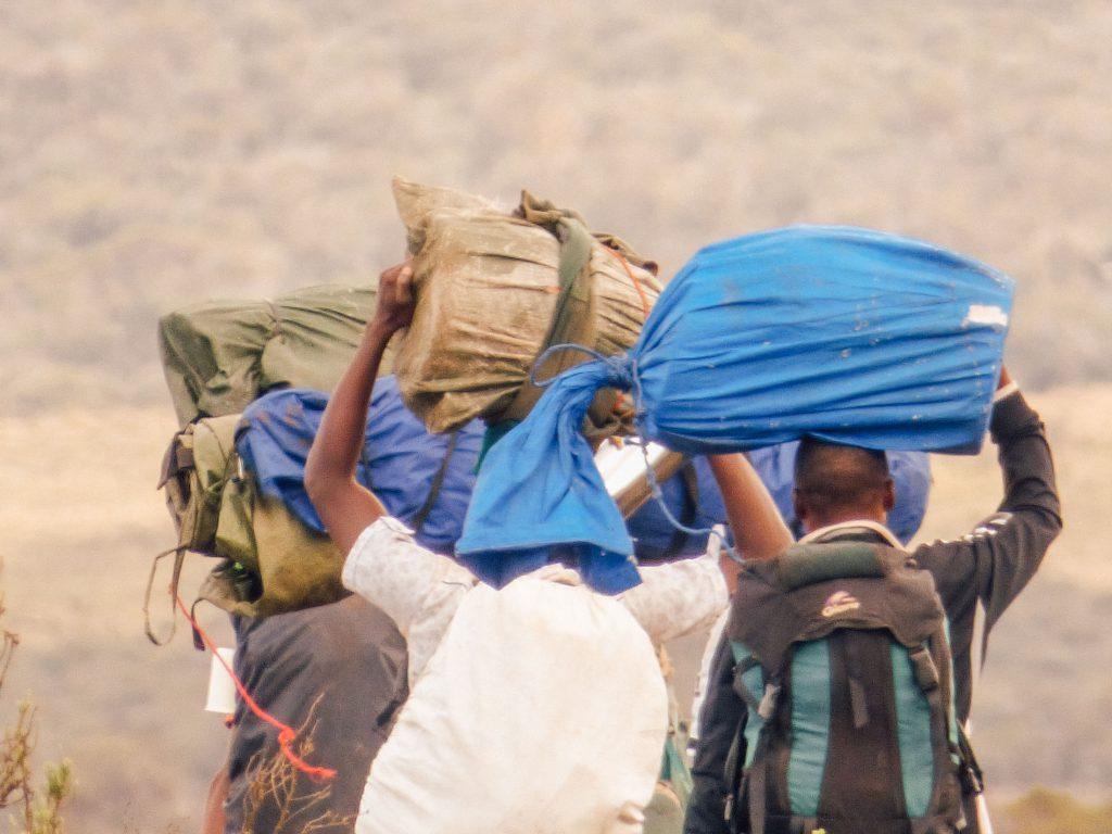 Porters on Mt Kilimanjaro