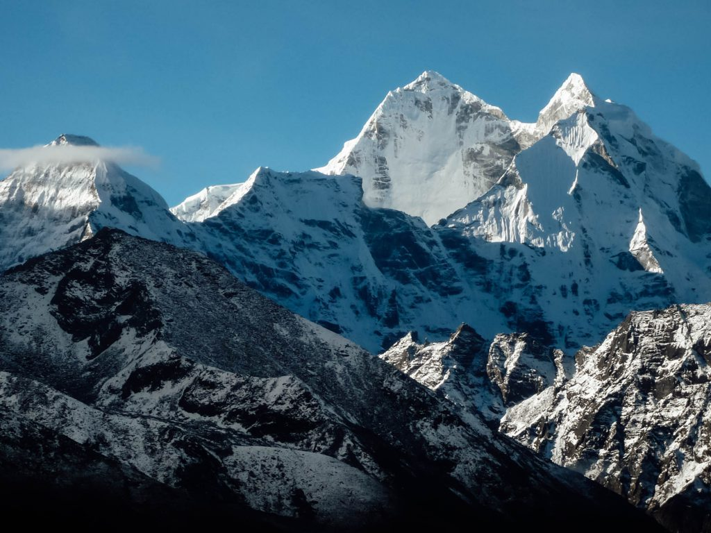 Snow-capped mountain peaks on Everest Base Camp trek