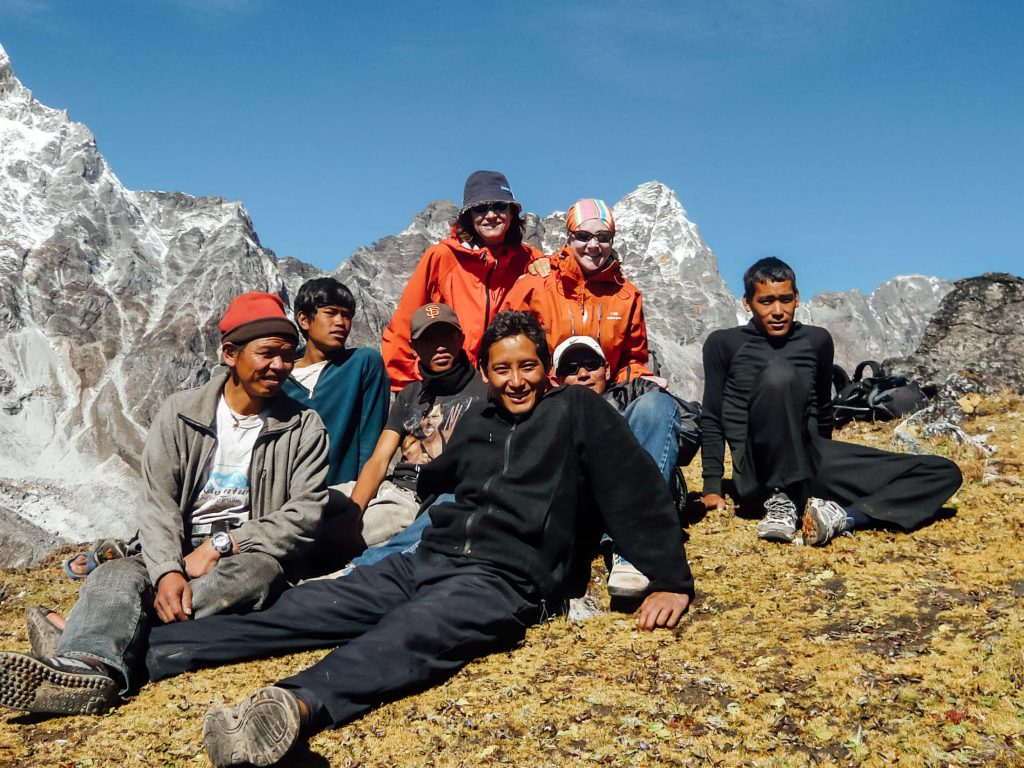Mountain crew and trekkers on the Everest Base Camp trek