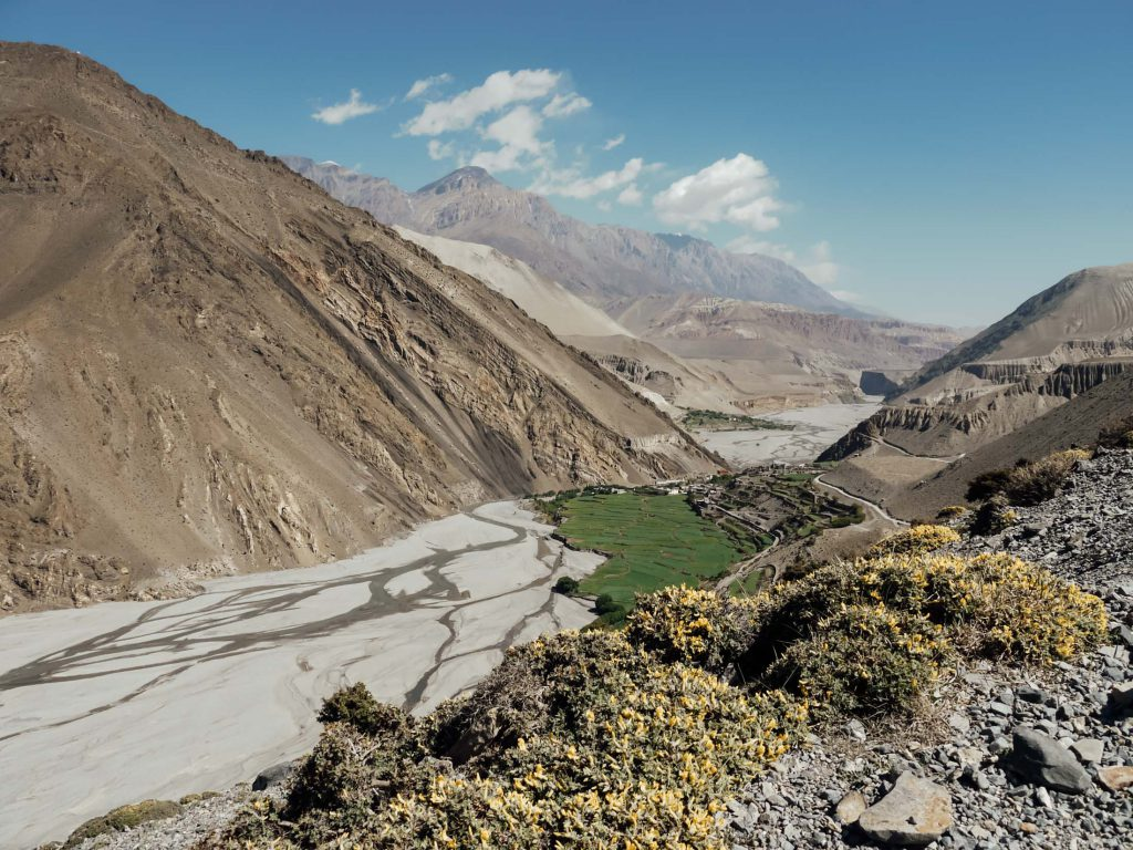 Valley in barren landscape