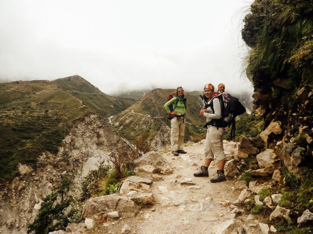 Three trekkers on their Everest Base Camp Trek