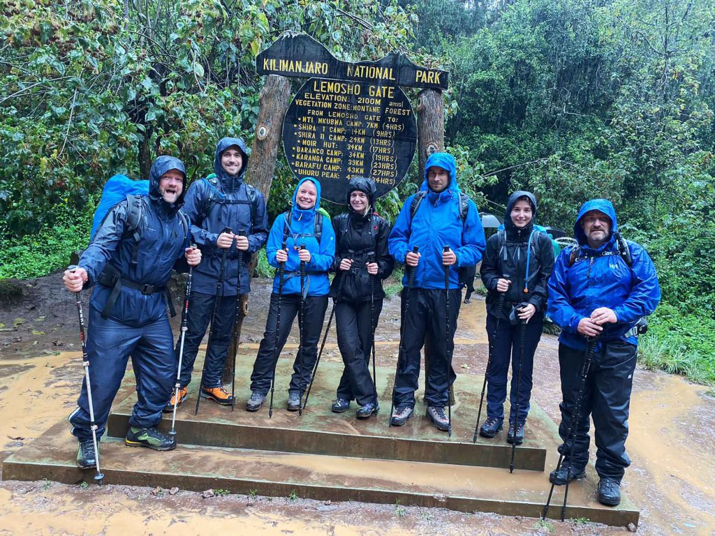 Lemosho Gate Kilimanjaro group photo rain