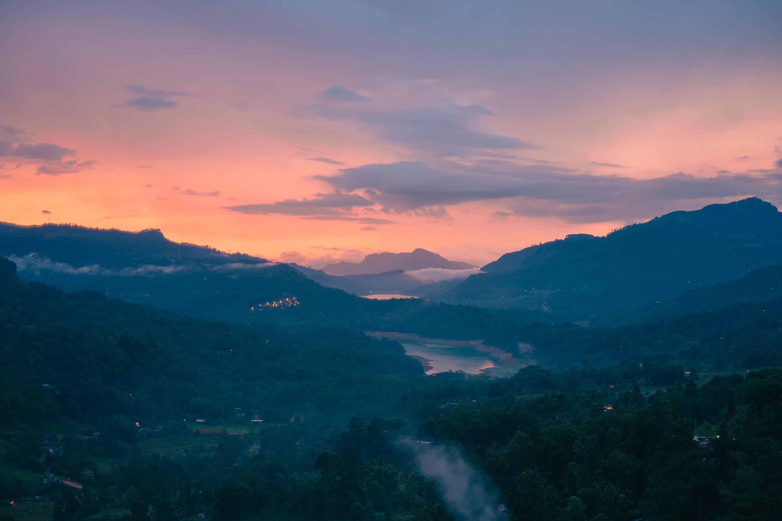 Beautiful sunsets over the hills in Ramboda, Sri Lanka