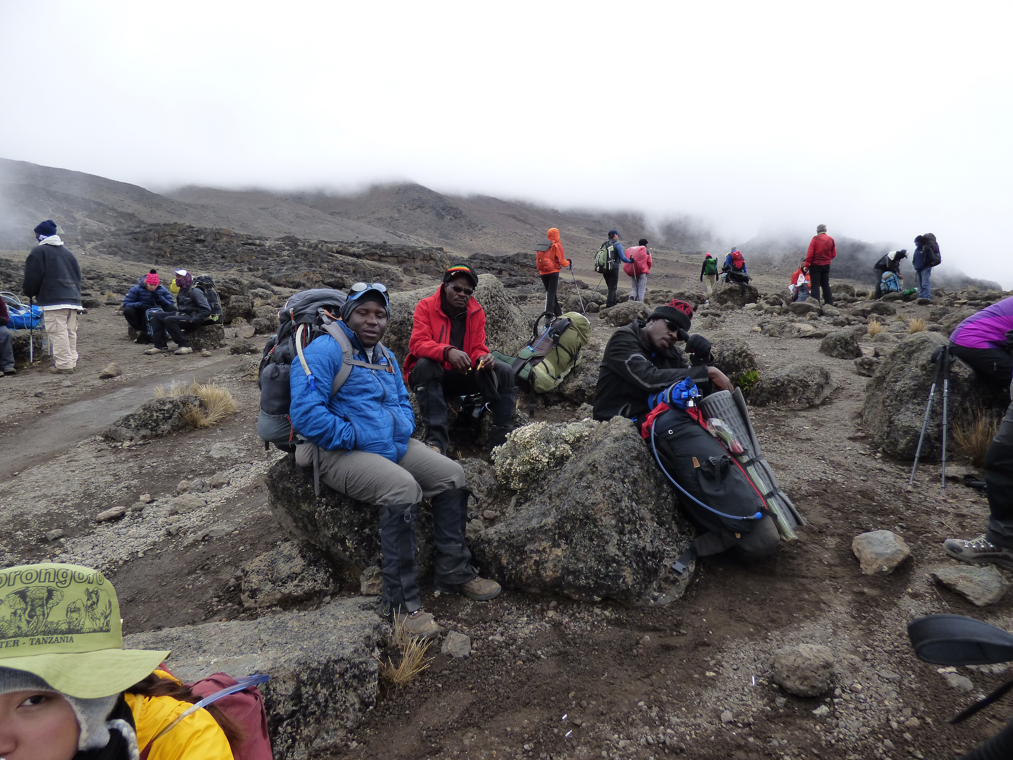 Guides taking a rest on Kilimanjaro