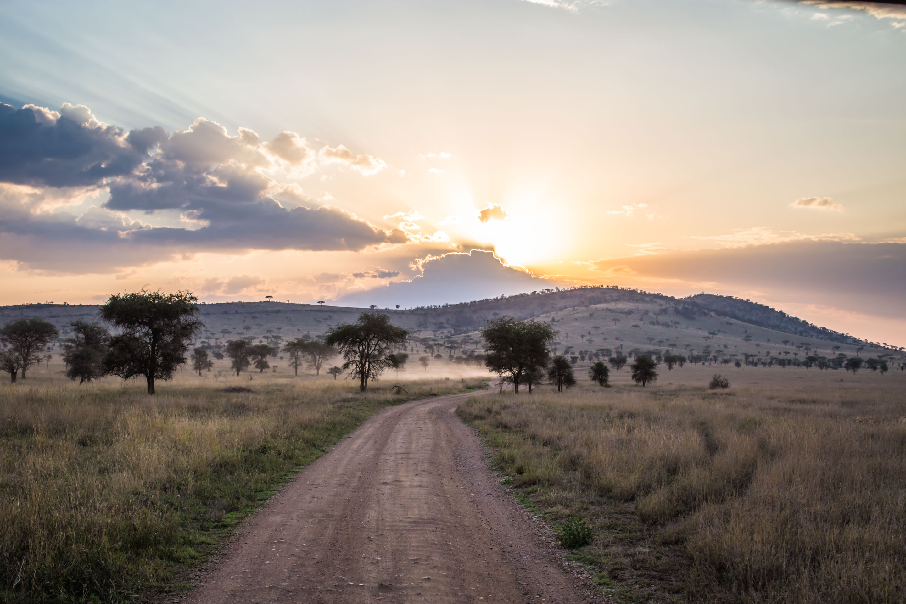 Sunrise from behind the hills in Serengeti
