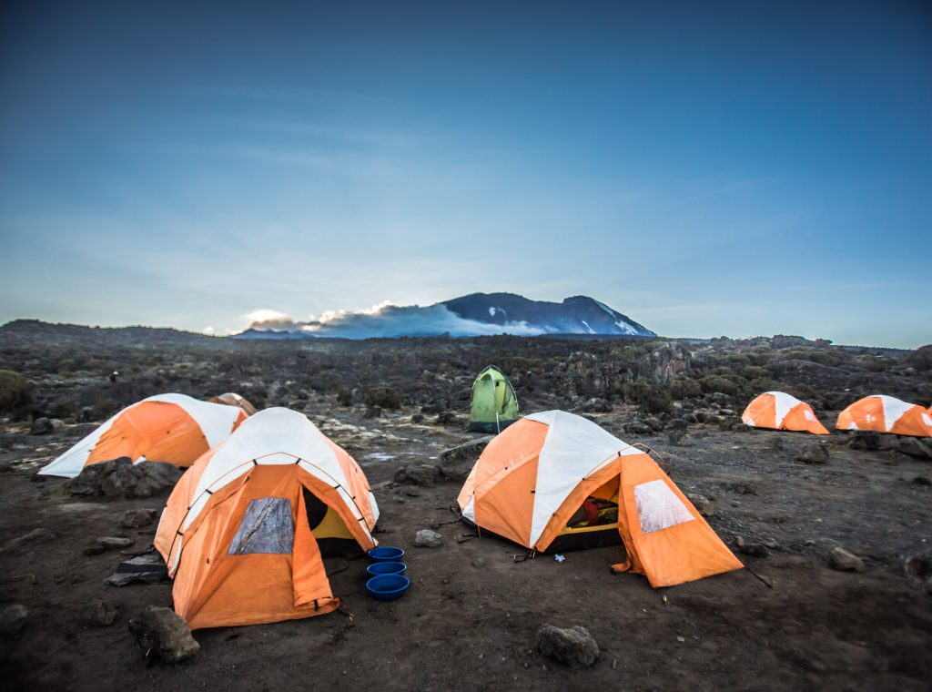 Camping tents on Mt Kilimanjaro