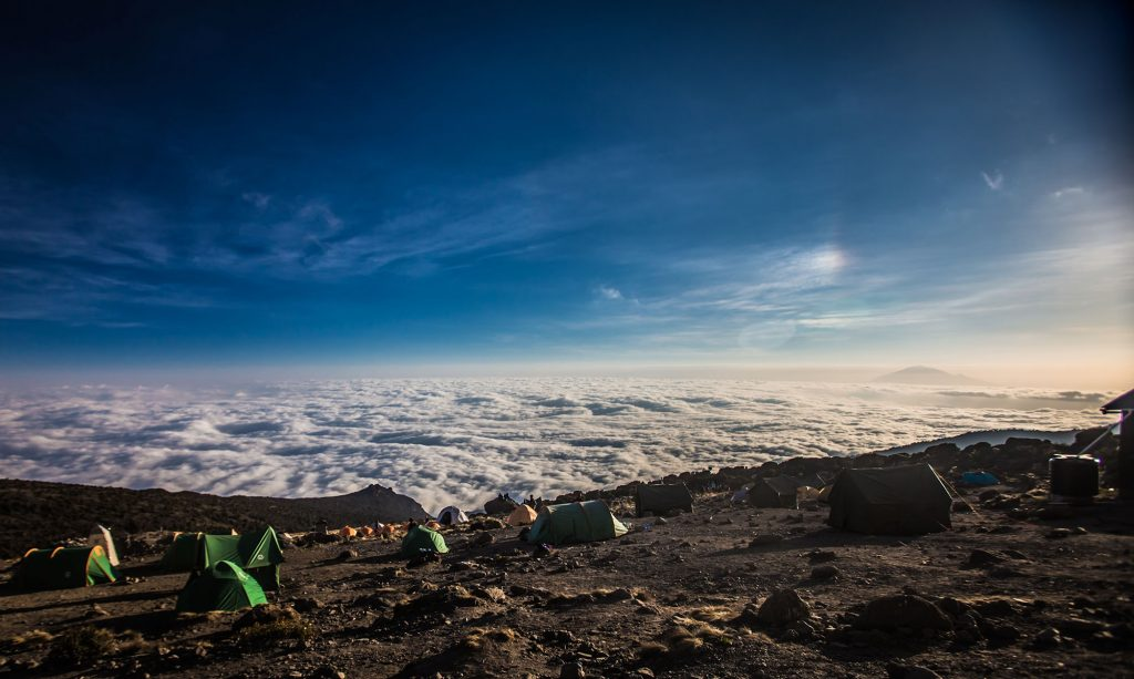 view above the clouds climbing Kilimanjaro
