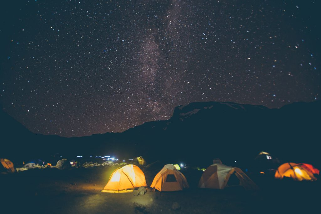 Tents under the stars at night on Kilimanjaro