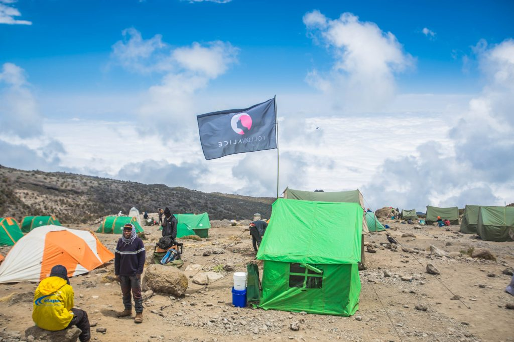 Follow Alice set up camp on Mount Kilimanjaro