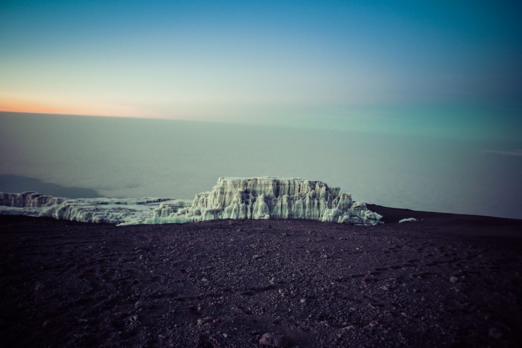 Glacier at the summit of Mount Kilimanjaro