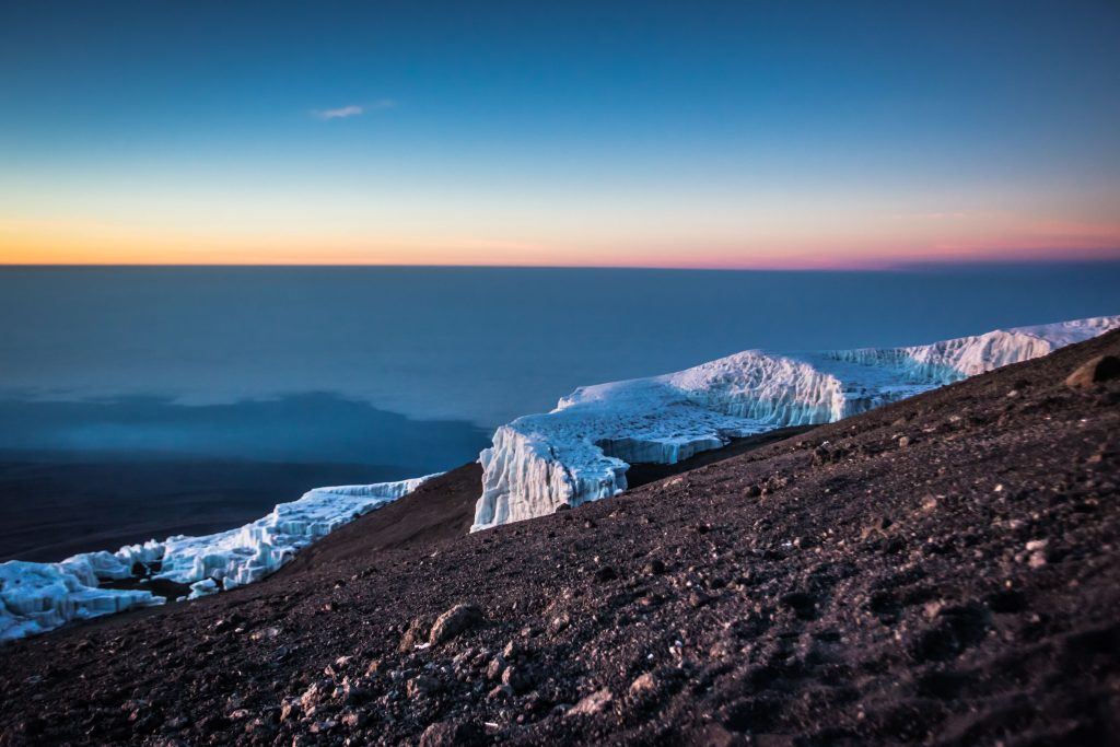 Sunrise view of a gorgeous glacier from the top of Kilimanjaro