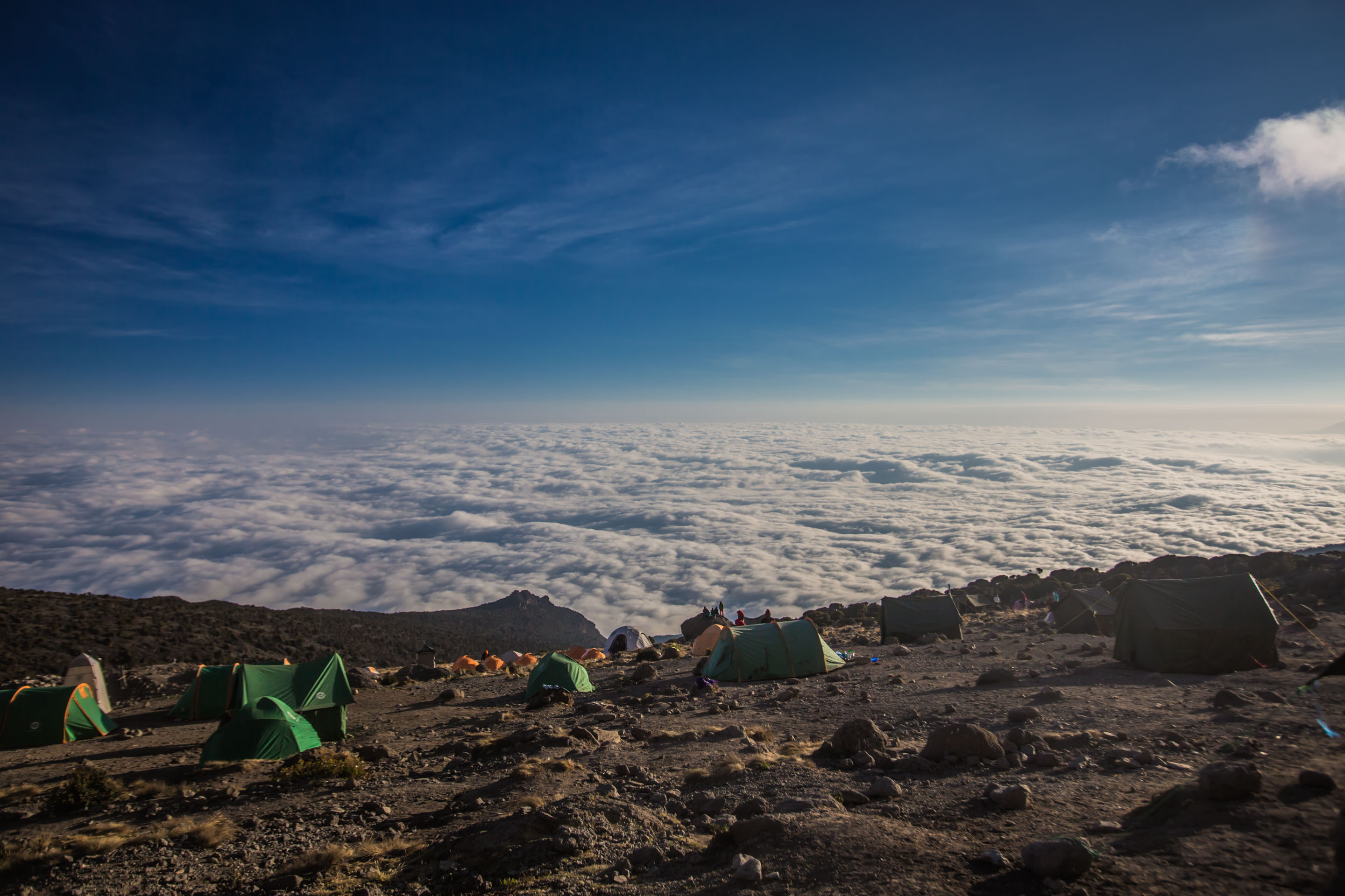Stunning view over the clouds from Kilimanjaro
