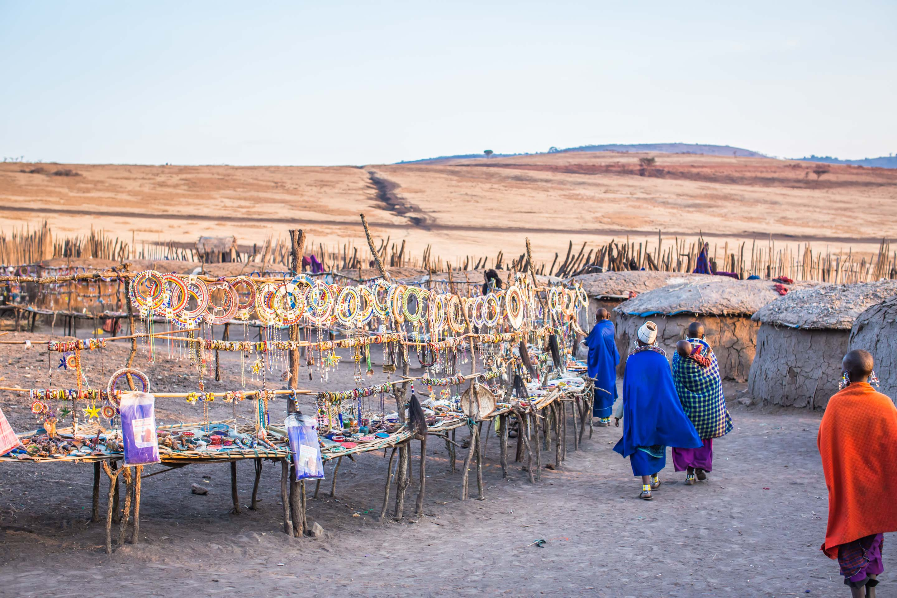The local Massai women selling jewellery and crafts