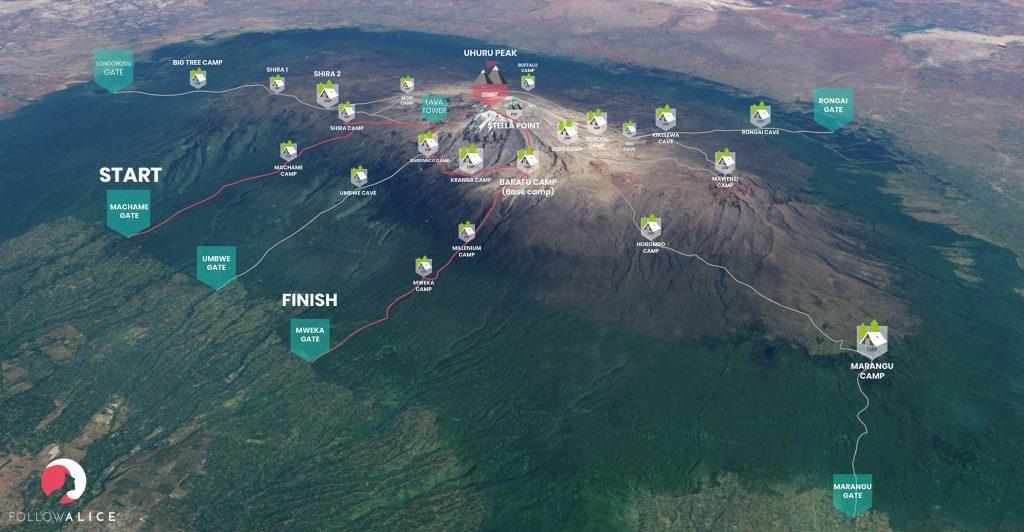 Kilimandscharo Machame route map