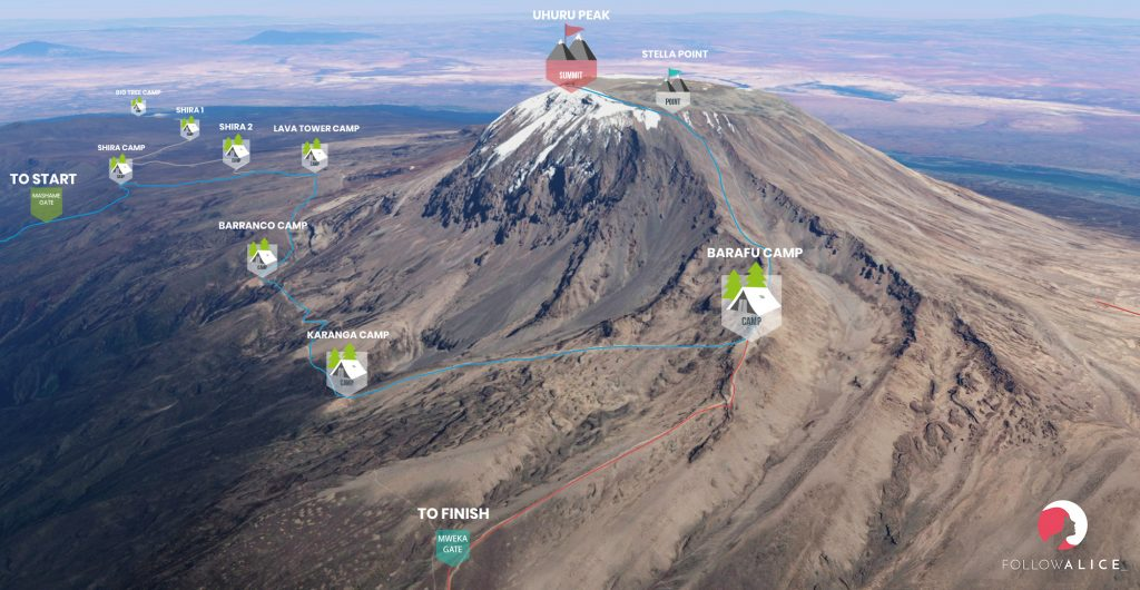 Kilimanjaro Machame route summit map