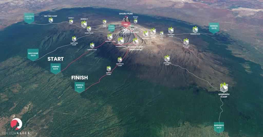 Kilimanjaro Umbwe route map
