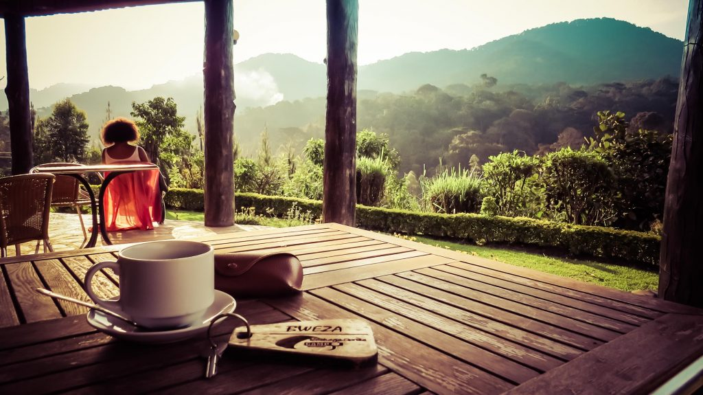 Coffee on terrace in Ugandan rainforest
