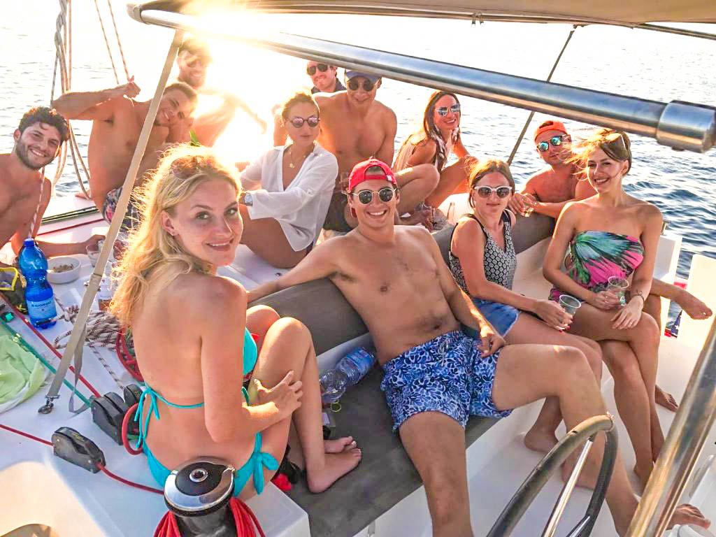 Friends on boat in Sardinia