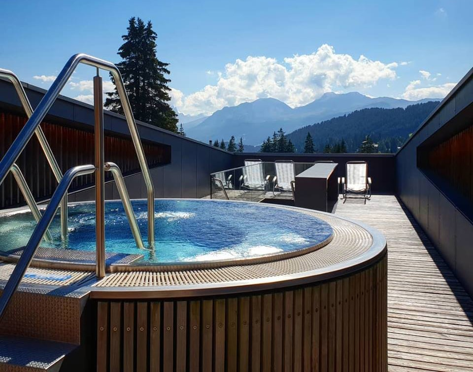 We'll have exclusive use of the spa with views over the mountains