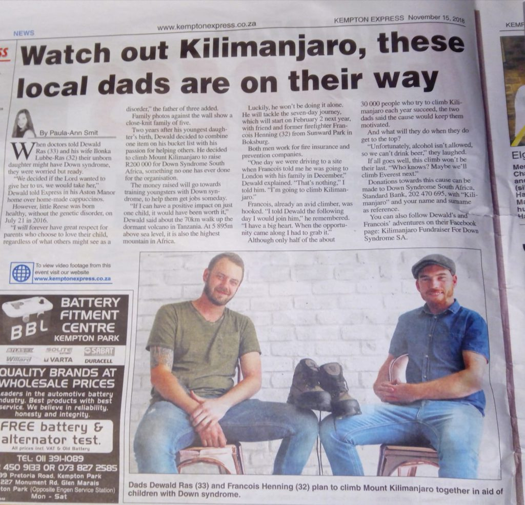 Climbing Kilimanjaro for Down syndrome