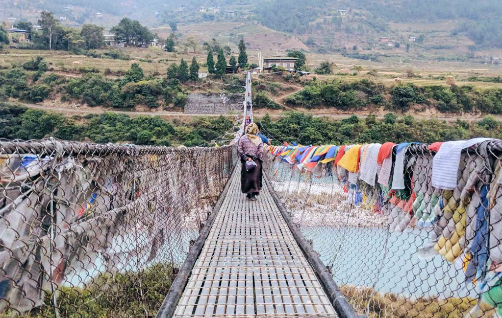 Prayer flags on bridge in Bhutan