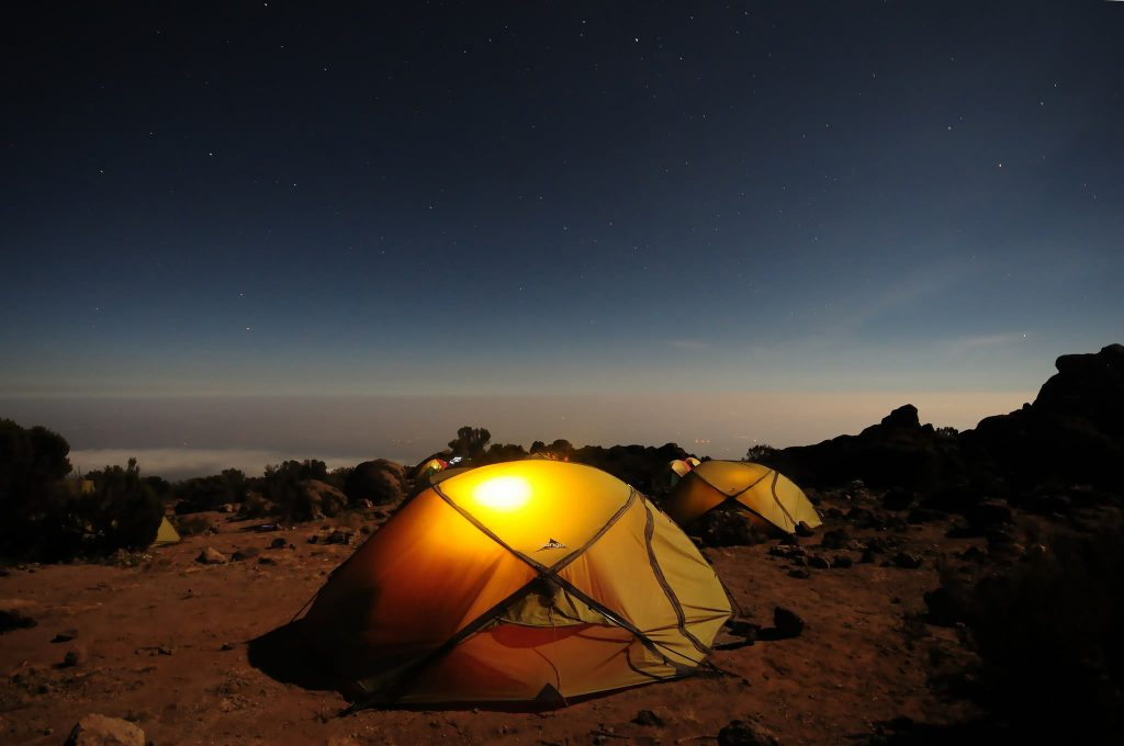 Dome tents on Kilimanjaro at night
