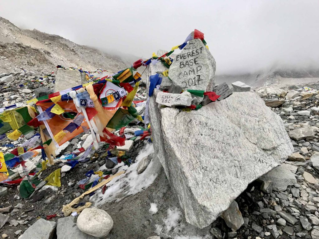Prayer flags and sign post at Everest Base Camp