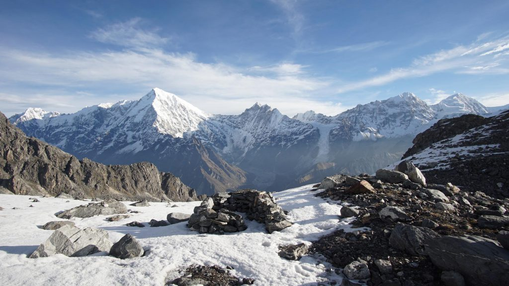 View of snow-capped peaks on the Annapurna mountain range