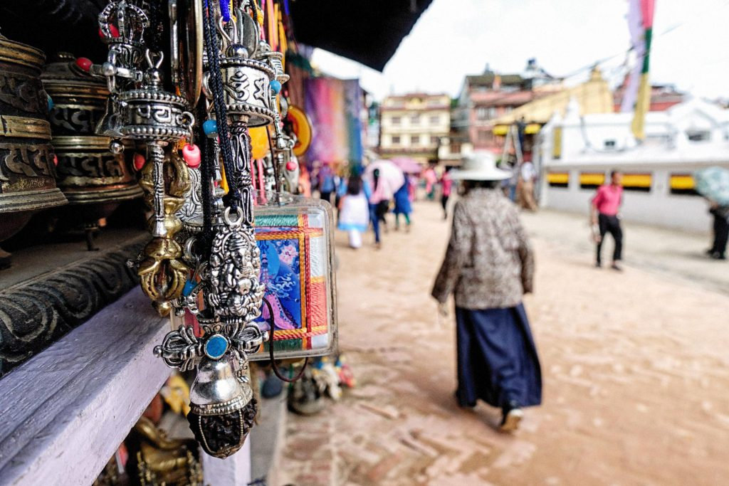 Hanging trinkets in a shop stall in Nepal