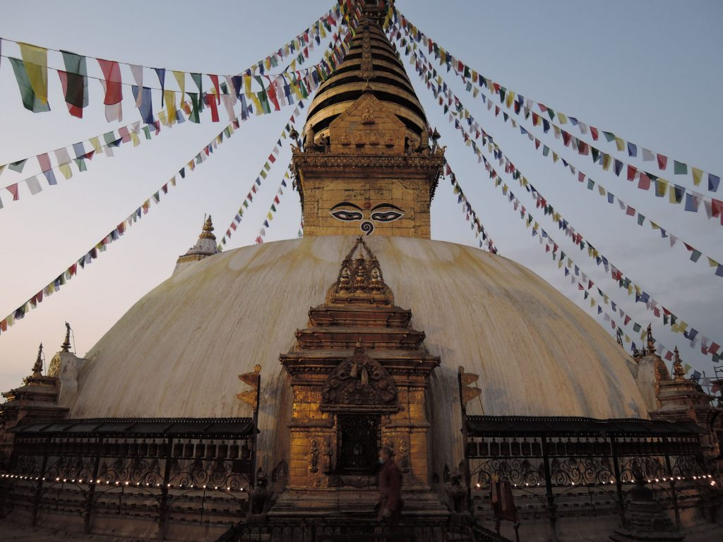 Stupa with prayer flags in Nepal
