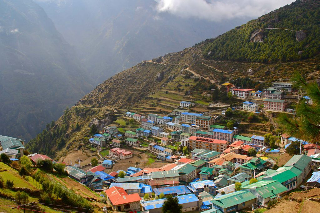 Colourful roofs in Nepal mountains